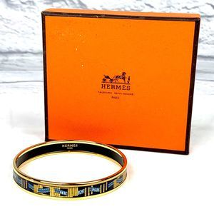 HERMES VTG Narrow Cloisonne Bangle Bracelet Gold